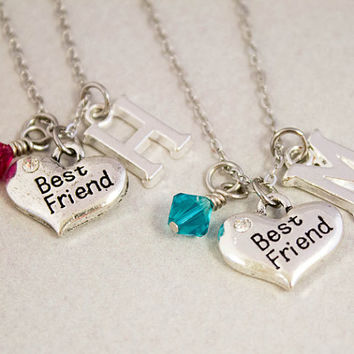 Two Best Friends Necklaces - Best Friend Charm Necklaces - Personalized Birthstone Jewelry - Custom Monogram Jewelry - Best Friend Gift