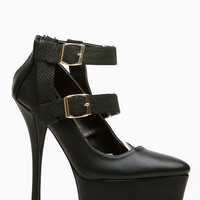 Qupid Double Strap Pointy Toe Black Pumps