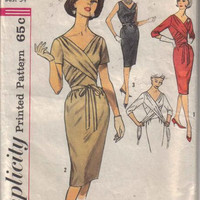 Sewing Pattern 1960s Simplicity 4228 Designer Style Wiggle Dress Front Drape Wrap Waist Deep V Neck Kick Pleat Skirt Uncut FF Bust 36
