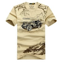 Plus Size Elastic Cotton Men's T Shirt AFS JEEP Brand Clothing Male Outdoor Sport Trekking T-shirt Army Military Tshirt,UMA012