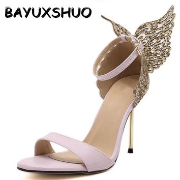 BAYUXSHUO 2017 New Fashion Women Valentine Shoes Bronzing Sequins Big Bowknot High Heels Sandals Stiletto/Party Wedding Sandals