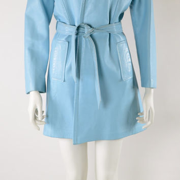 HOLIDAY SALE BABY Blue Leather Coat: Mod Leather Coat // Fur Trim Leather Coat // Matching Belt // Baby Blue Leather // Mod 60s Coat // 196