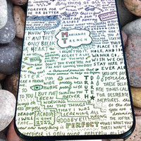 Marianas Trench Lyrics for iPhone 4/4s/5/5S/5C/6, Samsung S3/S4/S5 Unique Case *95*