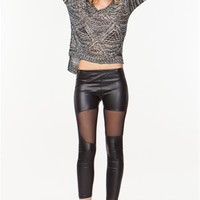 A'GACI Mesh Inset Leather Look Legging - BOTTOMS