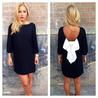 Black 3/4 Sleeve White Bow Back Shift Dress