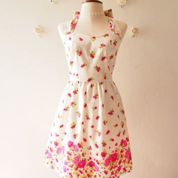 Cutie Floral Sundress Vintage Inspired Bright Pink Floral Garden Dress Tea Party Dress Halter Retro Modern Dress Gift for Women, custom