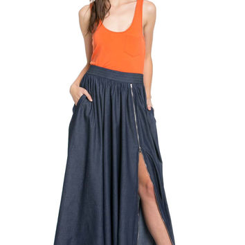 Full Length Maxi Skirt w/ Two Functional Pockets SK2061