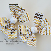 Petite Pinwheel Hairbows, Set of 2, White and Metallic Gold Chevron, 2.5 Inch, Pigtail Bows, Toddler Hairbow, Girls Hairbows, Pigtails