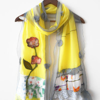 Yellow scarf, women's accessories, yellow shawl, hand-made,custom design, Turkish fabrics, ethnic fabrics, women's fashion, patchwork, trend