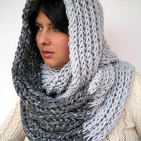 HarmonicDouble  Grey Circle Scarf Soft Wool Big  Neckwarmer Women/Men Fashion  Chunky  Circle Scarf UNIQUE PIECE
