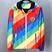 Burberry 2019 new rainbow stripe color matching embroidery wheat ear letter windbreaker jacket