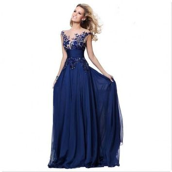 Royal Blue Corset Chiffon Evening Dresses Elegant Party Sheer Neck Long Sexy Red Carpet Formal Prom Gowns For Women Wear