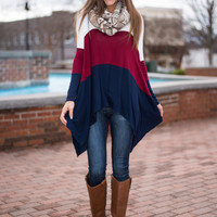 Drape Lengths Top, Burgundy/Navy