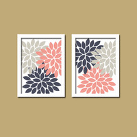 Bold Colorful Pink Navy Gray Grey Floral Flower Burst Set of 2 Prints Wall Decor Abstract Art Bedroom Bathroom Nursery Picture Crib