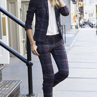 Berry Plaid Columnist Ankle Pant from EXPRESS