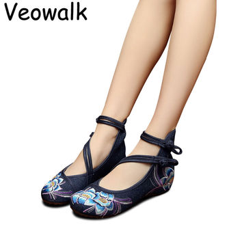 Veowalk Plus Size 34-41 Spring Woman Fashion Chinese Casual Flats For Women Flower Embroidered Mary Janes Cloth Walking Shoes