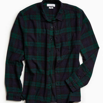 UO Blackwatch Plaid Flannel Button-Down Shirt - Urban Outfitters