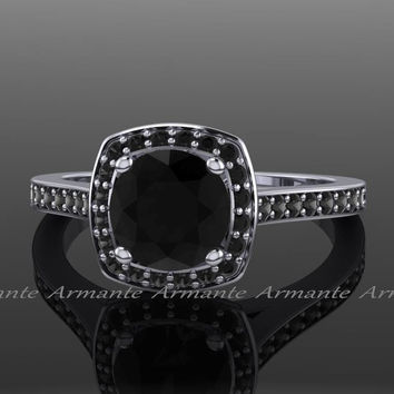 Black Diamond Ring, Black Diamond Engagement Ring, 14k White Gold Filigree Ring. Re0008