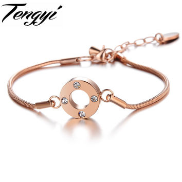 TENGYI Fashion accessories rose Gold plated snake chain bracelet  made with full crystal from South Korea charm  for woman 692