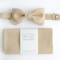 Wedding set for men - bow tie and pocket handkerchief by BartekDesign - beige linen chic grooms