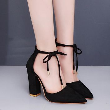 Pointed Tow High Chunky Heels Ankle Lace UP Party Shoes