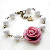 Bridesmaid Bracelet - Glass Pearl Bracelet - Purple Flower Bracelet | Luulla