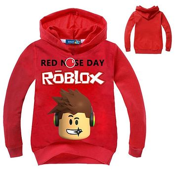 2018 New Kids Roblox Red Nose Day Pullover Hooded Sweatshirt Boys Girls Autumn Cotton T shirt Fashion Cartoon Tops 3-14 years