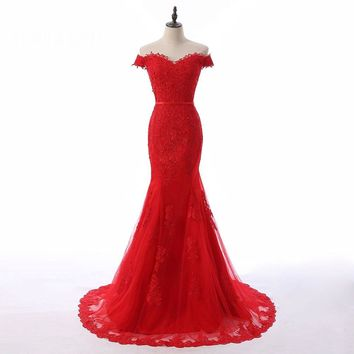 Newest Sweetheart Neck Tulle Mermaid Long Evening Dresses Cap Sleeves Button Appliques Floor Length Evening Dress