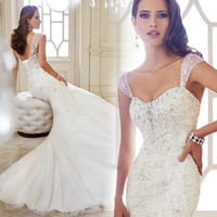 2015 New Arrival Cap Sleeves Sweetheart Appliques Tulle Mermaid Wedding Dresses Lace Up Back Bridal Gowns Y21438 4895253