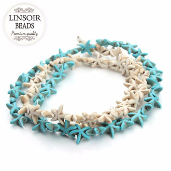 Approx.38pcs pack 1.3cm*1.3cm Starfish Natural Stone Beads Loose Spacer Turquoise Beads Seed Beads DIY Jewelry Making F1273