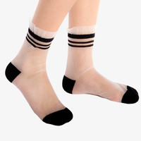 Black Sheer Striped Varsity Socks
