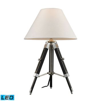 Studio LED Table Lamp In Chrome And Black With Woven Linen Shade Chrome,Black