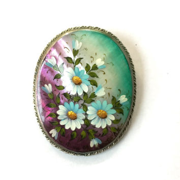 Vintage Shell Brooch Hand Painted Flowers Purple Turquoise Enamel Pin Daisy Floral Silver MOP Mother of Pearl Antique Estate Summer Jewelry