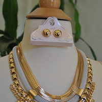 Aztec Gold and White Necklace and Earrings Set