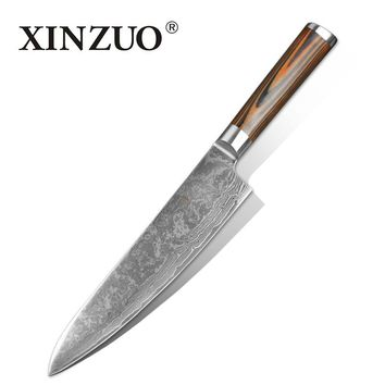 """8"""" inches chef knife High quality 73 layers Japanese VG10 Damascus steel kitchen chef knife cleaver wood handle free shipping"""