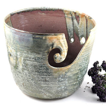 Ceramic Yarn Bowl Large Green Speckle Rose Quartz Pink Handmade Pottery Gift for Knitters