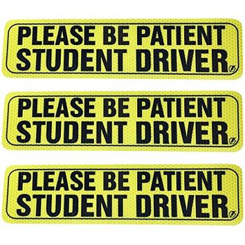 "Set of 3 ""Please Be Patient Student Driver"" Safety Sign Vehicle Bumper Magnet - Reflective Vehicle Car Sign Sticker Bumper for New Drivers"