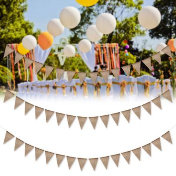 Hanging Linen Burlap Bunting Banner 13/48Pcs Jute Pennant Flags Christmas Tree Decoration Birthday Wedding Party Events Ornament