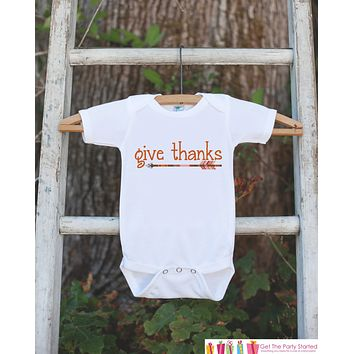 Kids Give Thanks Outfit - Thanksgiving Shirt - Kids Thankful Thanksgiving Shirt or Onepiece - Boy or Girl Orange Arrow Thanksgiving Outfit