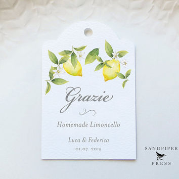 Grazie Limoncello Tags, Personalized Gift Tags, Wedding Favor Tags, Custom Limoncello Labels, Thank You, Watercolor Lemon - Set of 20
