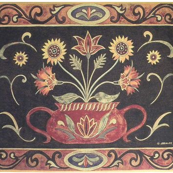 Folk Art Potted Flowers Tapestry Wall Hanging