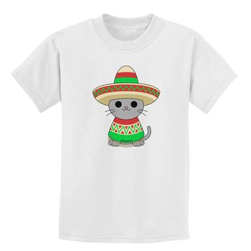 Cat with Sombrero and Poncho Childrens T-Shirt by TooLoud