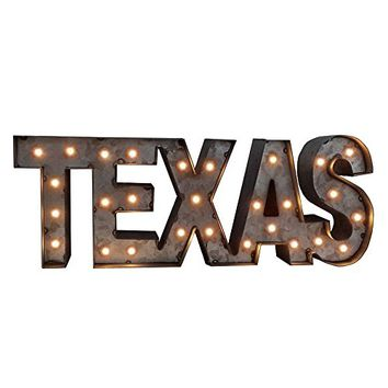 TEXAS - Americana LED Illuminated Marquee Sign - Galvanized Metal Finish - 12-in