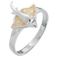 Stingray With Opal Inlay Sterling Silver Ring