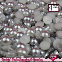 200 pc 4mm GREY BLUE Half Pearls,  Flatback Decoden Cabochons