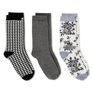 Women's Crew Socks 3-Pack Cream & Gray Rose Floral One Size - Merona™