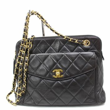 Authentic Chanel Shoulder Bag Matelasse Chain Tote Black Lamb Skin 171132