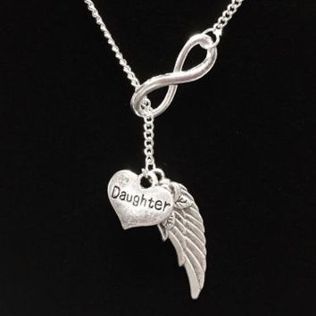 Infinity Daughter Angel Wing Heaven In Memory Lariat Necklace