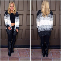 Ombre Latte Cardigan Sweater - BLACK