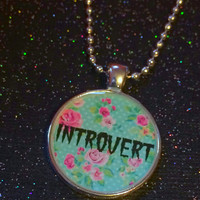 Introvert Necklace | Anti Social Floral Grunge Pastel Goth AntiSocial Sarcastic Loner Outsider Pendant | Creepy Cute Necklace Gothic Horror